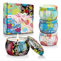 Buy cheap Custom Retro Patterns Travel Metal Jar Scented Candle Tin Candle Gift Sets product