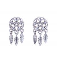 Buy cheap S925 Silver Fairy Dream Catcher Earrings Female Forest Cold Wind Leaves Tassel Personality Stud Earrings from wholesalers