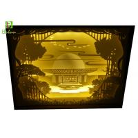 Buy cheap 3d Silhouette Paper Cut Box Stunning Paper Crafted Old Chinese Style Brush Gold product