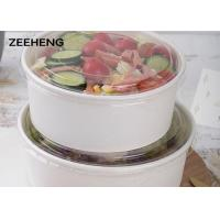 Buy cheap 250ml-1500ml Disposable Eco-friendly food grade white paper salad round bowl from wholesalers