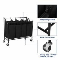 Buy cheap Simplehouseware 4-Bag Heavy Duty Rolling Laundry Sorter Cart, Chrome,laundry baskets,bag factory from wholesalers
