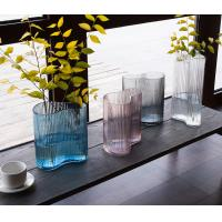 Buy cheap Vertical Stripes Irregular Decorative Glass Vases Handmade Tabletop With 3 Size from wholesalers