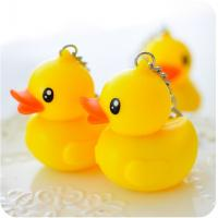 Buy cheap Key chain plastic rubber material yellow duck keychain sound & flash light keychain from wholesalers
