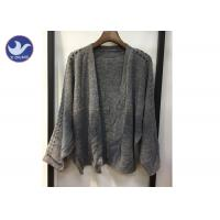 Buy cheap Lightweight Lady Pointell Bat Sleeves Cardigan / Womens Knit Sweater Gray Color from wholesalers