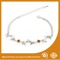 Buy cheap Crystal Silver Personalized Metal Chain Bracelet , Engraved Metal Bracelets from wholesalers