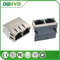 China 1 X 2 Port Gigabit Ethernet RJ45 Integrated Magnetic Connector with LED on sale