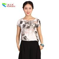 Buy cheap OEM Traditional Chinese Womens Casual Blouses Short Sleeve XS-XXXL from wholesalers