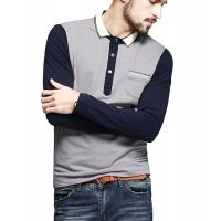 Buy cheap Color Block Ribbed Mens Polo T Shirts With Sleeves Placket Unfunctional Pocket from wholesalers