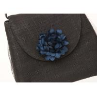 Buy cheap 20cm x 25cm Black Party Sinamay Bag For Women , Ladies Hand Bags With Navy Flower from wholesalers