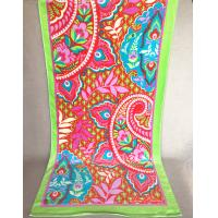 Buy cheap Happiness Symbolized Flower Jacquard Beach Towel With Lime Green Border from wholesalers