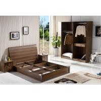 Buy cheap Cheap IKEA style rent Apartment home furniture melamine plate bed 1.2m- 1.5m-1.8 m light walnut color product