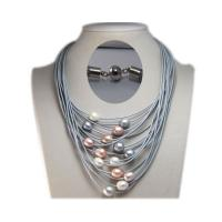 Buy cheap 16-24 inches Grey Leather Cord and 11-12mm Multicolor Freshwater Pearl Necklace from wholesalers