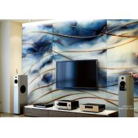 Buy cheap Background Decorative Glass Wall Panels 13mm With Ocean Theme , Blue And Gold from wholesalers