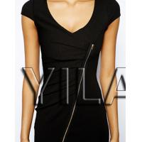 Buy cheap New Fashion Textured Bodycon Sexy Club Dress with Zip Front from wholesalers