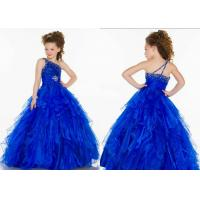 Buy cheap Custom Blue One Shoulder Little Girl Pageant Dresses Tiered Ruffles Ball Gown from wholesalers