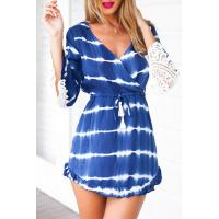 Buy cheap New Lace Sleeve Dress Bohemian Fashion Casual Dress for Women In Blue Tie Die from wholesalers