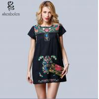 Buy cheap Mini Length Womens Embroidered Floral Dress Short Sleeve Casual Dress from wholesalers