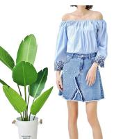 Buy cheap Fashionable Floral Off Shoulder Ladies Denim Top , Off Crop Sexy Denim Blouse from wholesalers