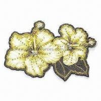 Buy cheap Emblem in Flower Design, Made of Crystal, Paillette, Beads and Sequins from wholesalers