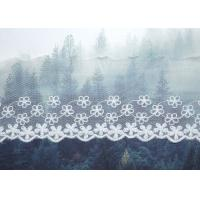 Buy cheap Custom Floral Embroidered Mesh Nylon Lace Trim With Scalloped Edge By Oeko Tex from wholesalers