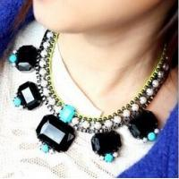 Buy cheap TPN-7 European glam rock feeling neon diamond rhinestone necklace pearls collar necklace from wholesalers