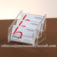 China Pure High Grade 3 Tiers Acrylic Note Holder PMMA Name Card Holder Memo Holder on sale