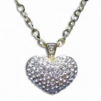 Buy cheap Metal Necklace with Gold Plating, Suitable for Women/Children, Available in Blue and Silver from wholesalers