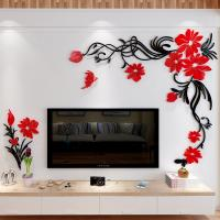 3d flower acrylic wall stickers living room sofa wall for A t design decoration co ltd