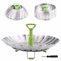 Buy cheap Folding SS Stainless Steel Steamer Basket For Food Fruit Vegetable Storage from wholesalers