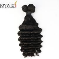 Buy cheap Cheap price 10A grade natural color deep wave raw virgin Brazilian human hair extensions weft from wholesalers