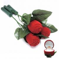 Buy cheap Ceremony Promotion Jewelry Velvet Box Red Rose Shaped With Fast Flashing LED Lights from wholesalers