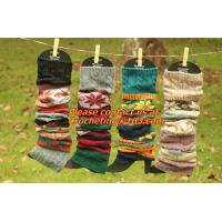 Buy cheap girl deer snowflake jacquard knit boot socks wood feel casual wool acrylic, socks, warmer from wholesalers