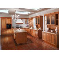 Buy cheap Island Birch Wood Venner Kitchen Cabinets With Quartz Countertops Waterproof from wholesalers