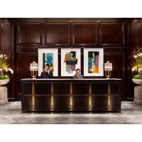 Buy cheap 5 Star hotel Reception desk Luxury counters Hotel reception furniture of Wood wall panel fixture with Storage cabinets from wholesalers