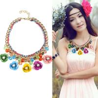 Buy cheap Hot Sale Fashion Fluorescent Color Crystal Flower Statement Necklace Woman, Chunky Gold Chain Necklace from wholesalers