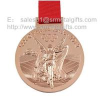 Buy cheap Polished bronze Olympic games medals with ribbon, Olympics trophy and award medals, from wholesalers