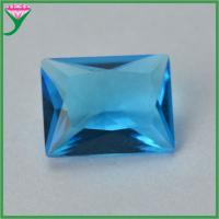Buy cheap Wuzhou Wholesale Sapphire Blue Rectangle Crystal Glass Gems from wholesalers