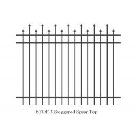 Buy cheap 3 horizontal rails 40mm x 40mm staggered crimped to spear security steel garrison fence 2.1mx2.4m from wholesalers