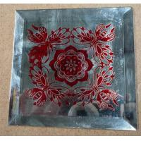 Buy cheap silk printing glass decorative mirror red flower art glass from wholesalers