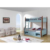 Quality Sky blue painting bunk bed for children bedroom in solid wood frame and MDF plate with storage drawers in apartment furn for sale