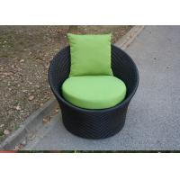 Buy cheap Black Round Outdoor Rattan Chairs , With Green Cushion And Pillow from wholesalers