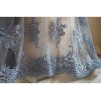 Buy cheap Pale Blue Beaded Embroidered 3D Flower Lace Fabric By The Yard For Wedding Dress product