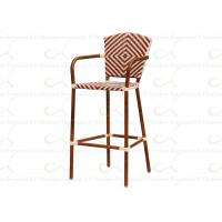 Buy cheap Outdoor Aluminum Bamboo Bar Chairs in Red for Alfresco Catering from wholesalers