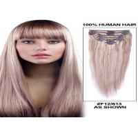 Buy cheap Straight Human Hair Clip On Hair Extensions Tangle Free 120g 8 Pieces / Bundle from wholesalers