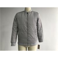 Buy cheap Grey Quilted Mens Polyester Bomber Jacket With Rib Detail Plastic Zip Through Tw77570 from wholesalers