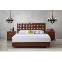 Buy cheap Leather / Fabric Upholstered Headboard Bed for Apartment Bedroom interior fitment by Leisure Furniture with Wooden table from wholesalers