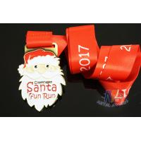 Buy cheap Christmas Festival Fun Run Metal Award Medals, Running Sports Medallion Gold Plating Sublimated Ribbon from wholesalers