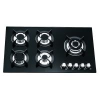 Black Glass Gas Hob 5 Burners 90cm , Built In 8mm Tempered Glass Top Gas Hob