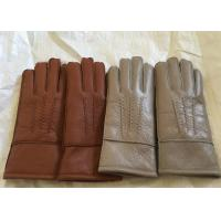 Buy cheap Windproof Men'S Shearling Sheepskin Gloves , Thick Fur Lined Leather Gloves Mittens  from wholesalers
