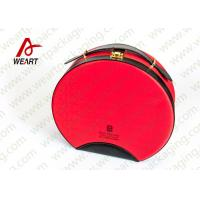 Customized Red Round Makeup Organizer Box , Leather Handle Cosmetic Pouch Bag